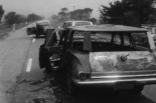 Cars were left burnt out along the Princess Highway.