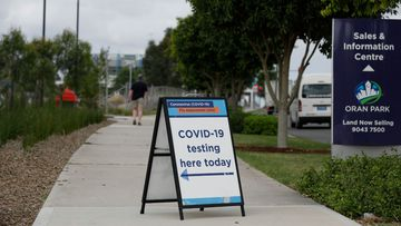 A coronavirus pop up testing clinic at the Julia Reserve Community Centre in Oran Park.
