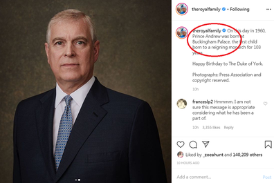 Prince Andrew Instagram message on 9Honey omitted HRH