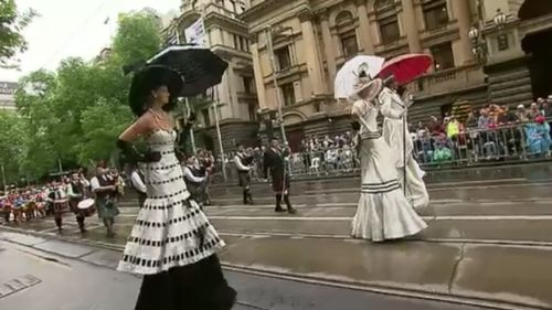 Some 'My Fair Lady' costumes brought glamour to Swanston Street. (9NEWS)