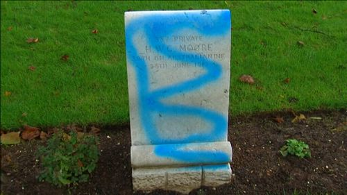 Vandals used blue spray-paint. (Supplied)