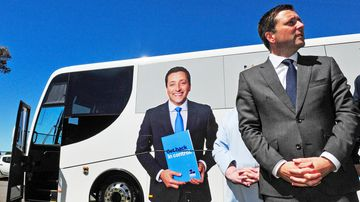 Wheels of spin turning as leaders hop on their buses
