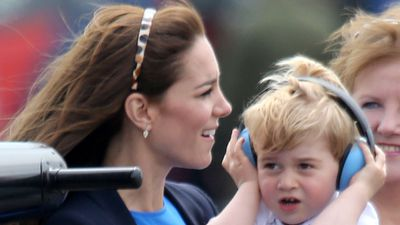 <p>The Duchess of Cambridge held Prince George as he reacted to noise at the show. </p> <p>The Air Show was staged in support of the RAF Charitable Trust and also recognised 75 years of Air Cadets.</p>