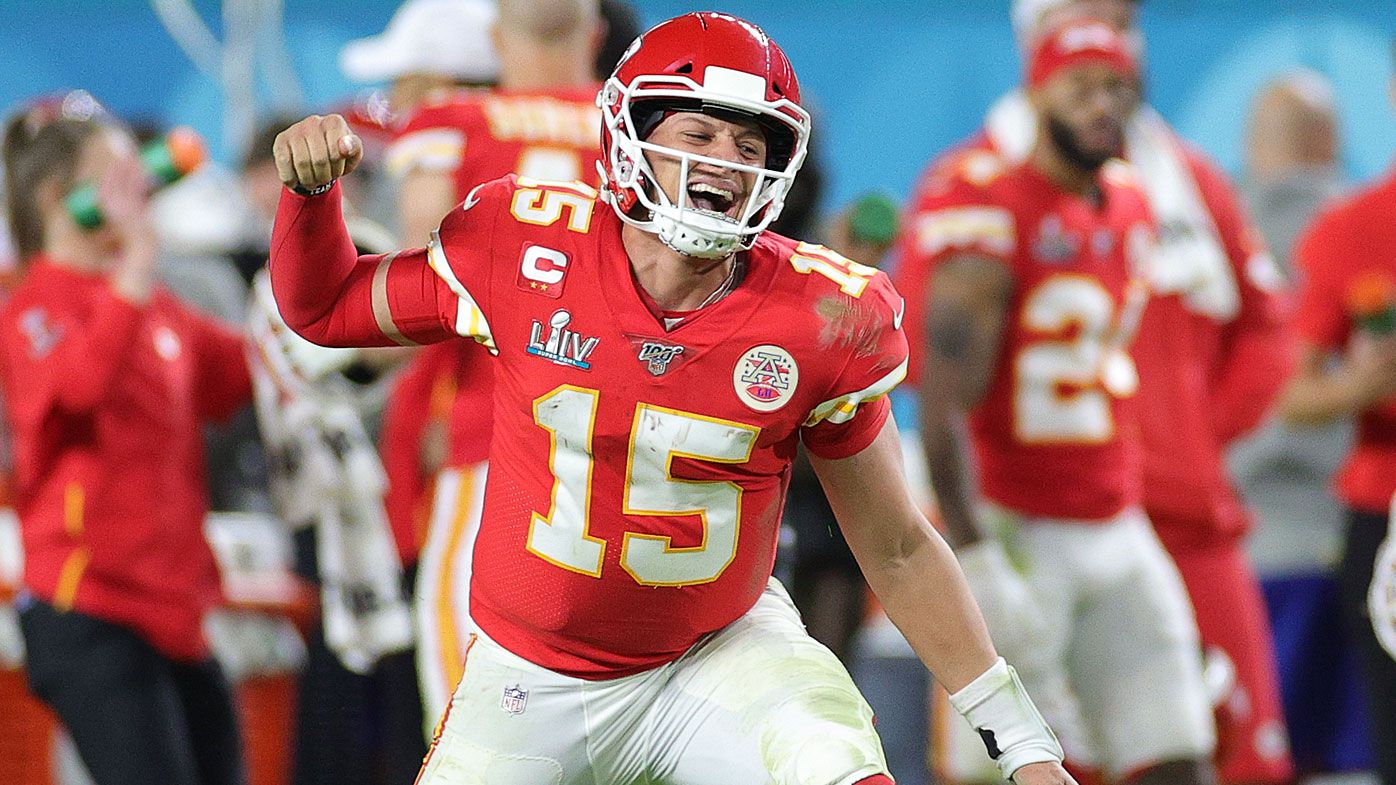 Patrick Mahomes #15 of the Kansas City Chiefs celebrates after throwing a touchdown