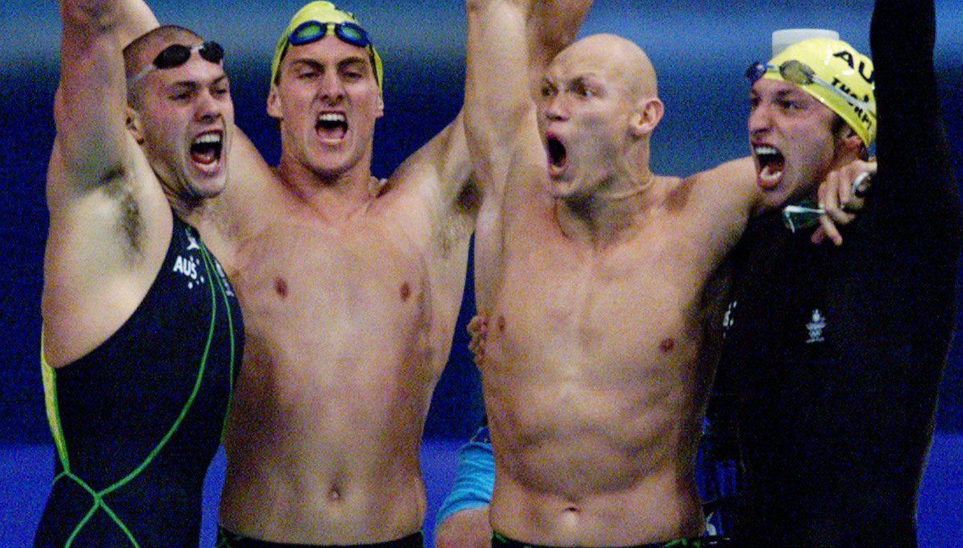 Ashley Callus, Chris Fydler, Michael Klim and Ian Thorpe after their win in the 4x100m freestyle relay.