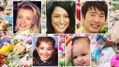 Jess Mudie, Bhavita Patel, Matthew Si, Thalia Hakin, Zachary Bryant and Yosuke Kanno (not pictured) were killed on Bourke Street. (9NEWS)