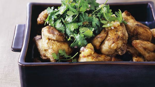 Cumin-roasted spatchcock with coriander and red onion salad