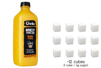 Charlie's orange juice: 47g sugar per 500ml bottle