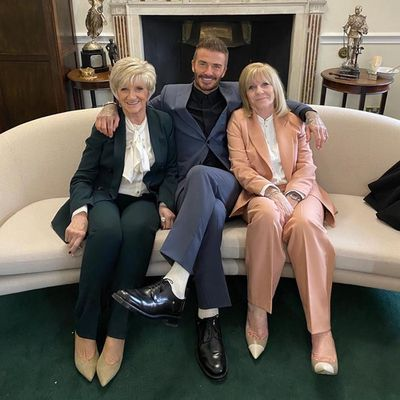 David Beckham, mum Sandra Beckham and mother-in-law Jackie Adams