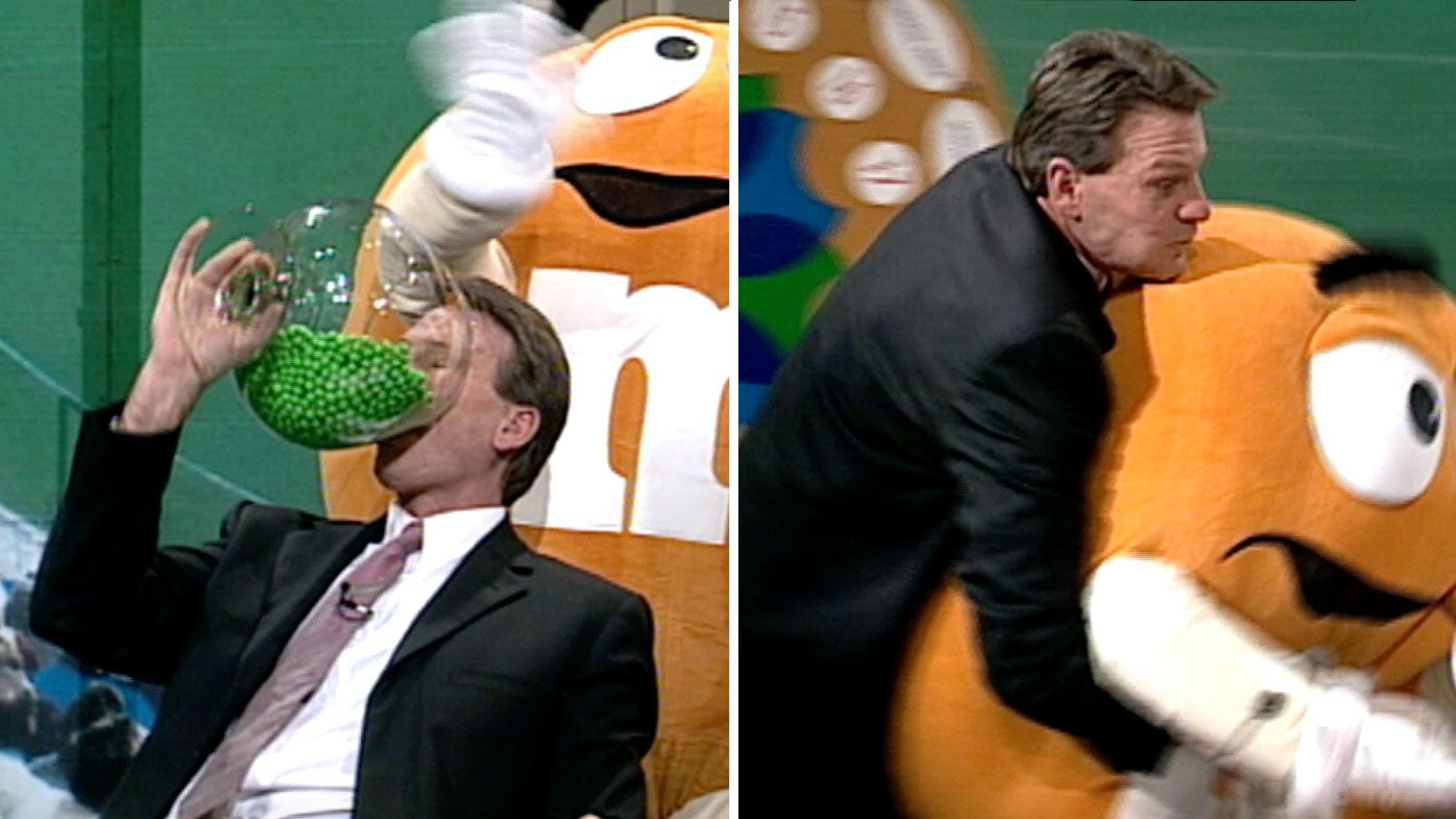 Sam Newman recalls defying strict instructions and tackling M&M's mascot on The Footy Show