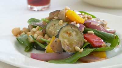 "Recipe: <a href=""http://kitchen.nine.com.au/2016/05/17/22/28/warm-vegetable-salad"" target=""_top"">Warm vegetable salad</a>"
