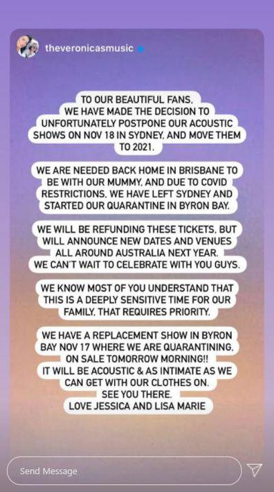 The Veronicas postpone Sydney show, Instagram Stories, statement
