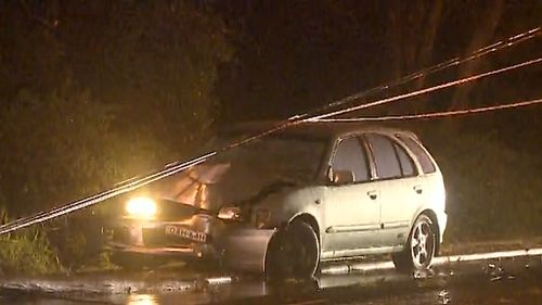The difficult conditions saw a number of crashes on Sydney's roads overnight. (9NEWS)