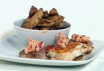 """Recipe:<a href=""""/recipes/ichicken/8347694/pan-fried-chicken-with-chilli-butter-and-potato-wedges-with-lemon-pepper"""" target=""""_blank"""" draggable=""""false"""">Pan-fried chicken with chilli butter and potato wedges with lemon pepper</a>"""