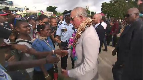 Locals lined the streets holding British flags and asking for photographs as the Prince moved between locations. Picture: 9NEWS.
