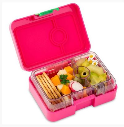 """<a href=""""http://www.biome.com.au/lunch-boxes/15395-yumbox-minisnack-3-compartment-cherie-pink.html"""" target=""""_blank"""" draggable=""""false"""">Yumbox MiniSnack in Cherie Pink, $26.95, biome.com.au</a>"""