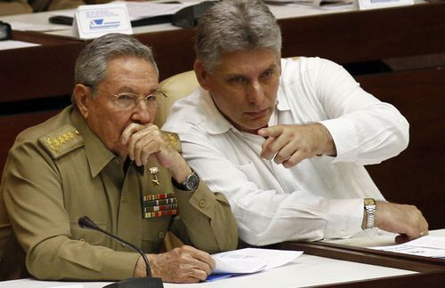 President Raul Castro (left) with Vice President Migel Diaz-Canel. (AAP)