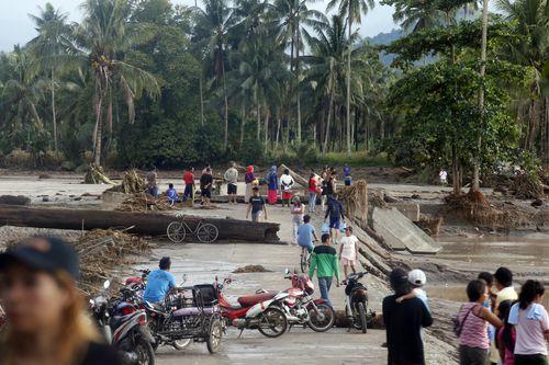 The floods also set off landslides. (AAP)