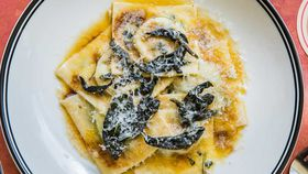 Spinach and Ricotta Ravioli w/ Burnt Butter Sage