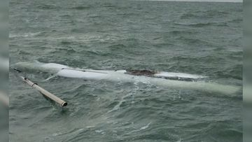 A father and son were found clinging to the upturned hull of their boat after spending a night stranded at sea.