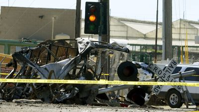 <p>Twenty-eight people have been taken to hospital after a packed commuter train smashed into a truck stuck on the tracks in Oxnard, California. </p> <p>The train was carrying 48 passengers when it struck the vehicle, which burst into flames.</p> <p>The driver of the truck fled the scene and was later arrested by police.</p> <p><strong>Click through to see dramatic images from the scene. </strong></p>