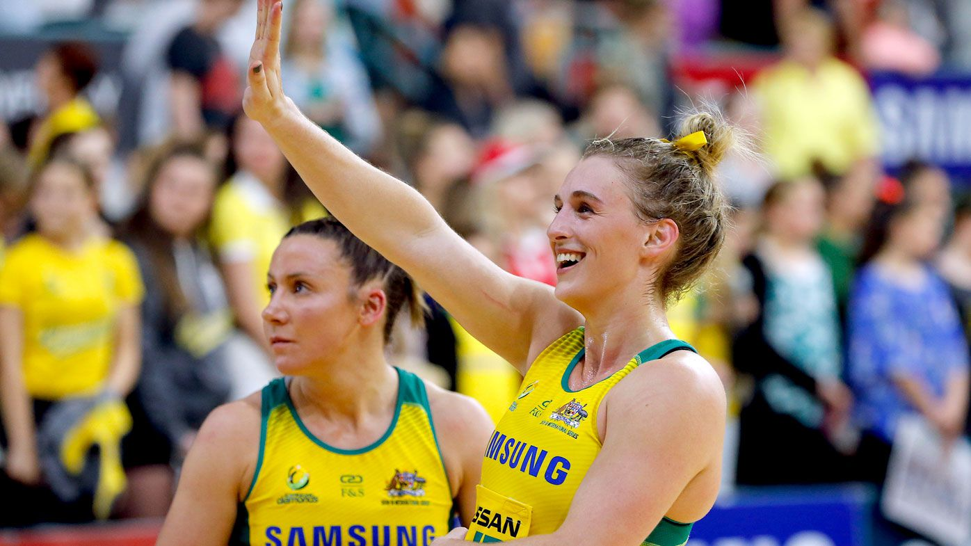 Gabi Simpson of the Diamonds waves to the crowd after the Netball Quad Series match against the England Roses.