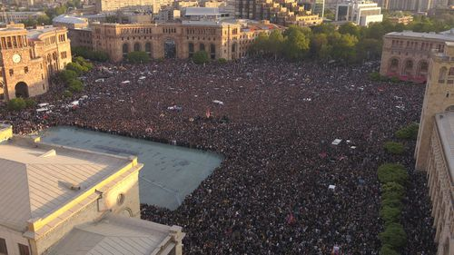 Opposition demonstrators gather in the Republic Square celebrating Armenian Prime Minister's Serzh Sargsyan's resignation in Yerevan. (AAP)