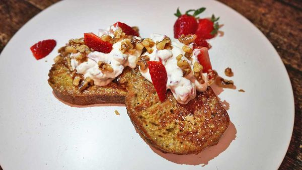 High protein ricotta and strawberry French toast