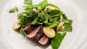 Gary Mehigan's grilled lamb loin with smoked eggplant and mint