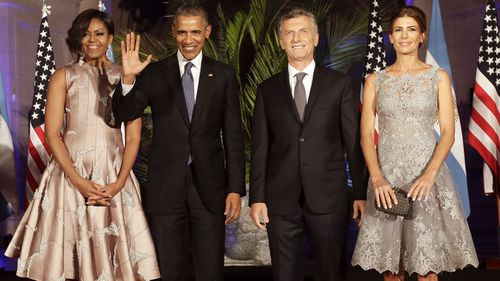The Argentinian president and first lady with the Obamas.