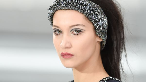 Bella Hadid - all the hair and very little care for Chanel. Image: Getty.