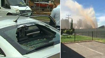 Burst water pipe destroys car and sends dangerous debris flying