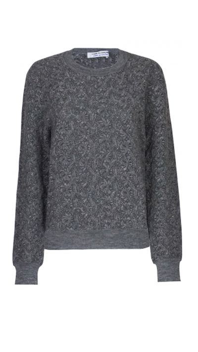 "<a href=""http://www.parlourx.com/styles/knitwear/cdg-cdg-knit-textured-jumper.html"" target=""_blank"">Knit Textured Jumper, $365, Comme Des Garcons</a>"