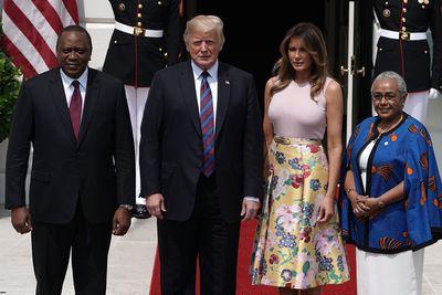 <p> Kenyan President Uhuru Kenyatta, US President Donald Trump, Lady MargaretKenyatta and US First Lady Melania Trump</p>