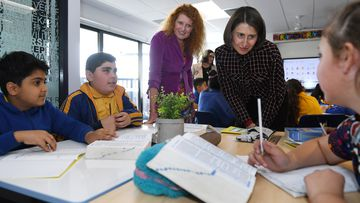 New South Wales Premier Gladys Berejiklian is given a tour of Merrylands Public School in Sydney, Australia.
