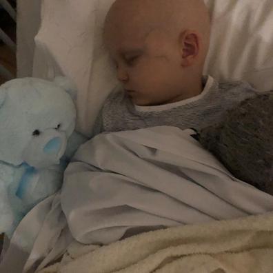 Ollie leukaemia sleeping in hospital