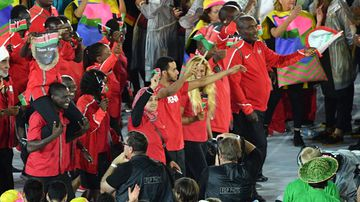 Team of Kenya enter the stadium during the opening ceremony of the Rio 2016 Olympic Games at the Maracana stadium in Rio de Janeiro, Brazil, on August 5 2016. (AFP)