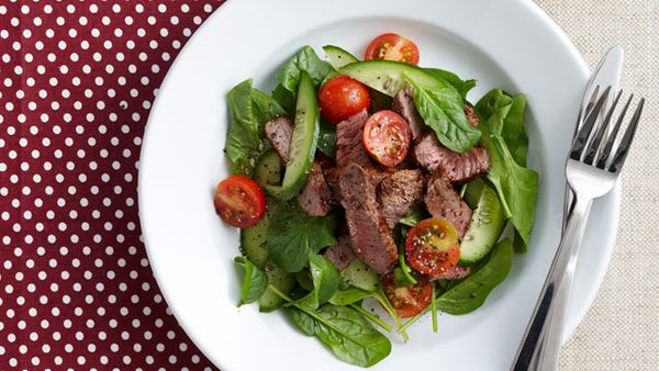 Smoky paprika steak salad for $10
