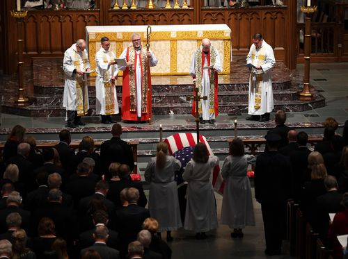 The funeral service for former President George HW Bush at St Martin's Episcopal Church in Houston.