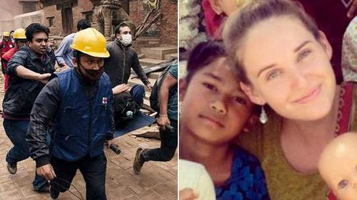 Rescue workers pull a patient from the rubble, and Australian survivor Ballantyne Paige Forder. (Sources: AAP, Facebook)