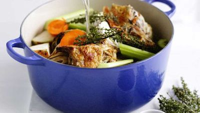 Chicken, veal, fish and vegetable stock