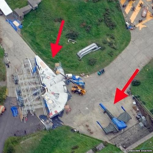 Star Wars film set's Millennium Falcon and X-wing fighter spotted from air