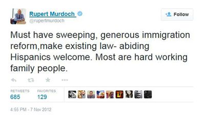 "<p>Immigration reform is one of the Murdoch's passions, and he regularly urges US lawmakers to action. But he is not devoid of compassion.</p>  <p>In this tweet from 2012, he said that ""existing law-abiding Hispanics"" are welcome. But to those who are outlaws, or imaginary, he gives no quarter, presumably. </p>"