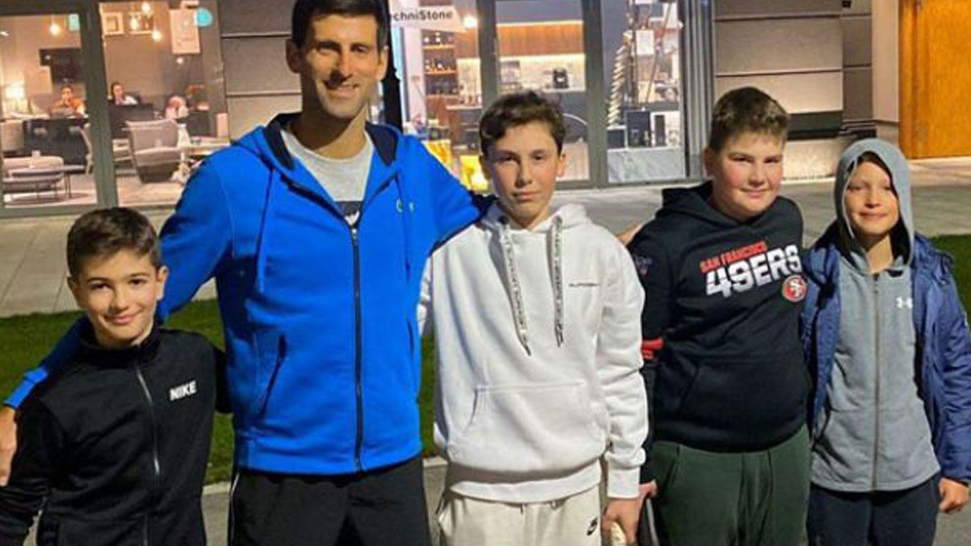 Djokovic plays impromptu street tennis with kids