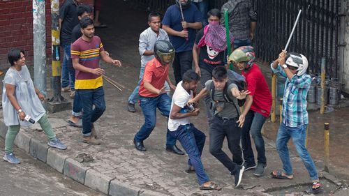 Thousands of angry young people protested in Bangladesh's capital on Sunday to demand safer streets.