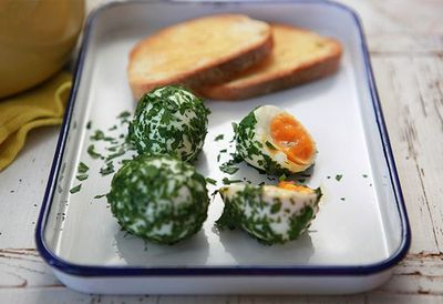 """Recipe:&nbsp;<a href=""""http://kitchen.nine.com.au/2016/05/05/14/39/herbed-boiled-eggs"""" target=""""_top"""">Herbed boiled eggs with sourdough</a>"""