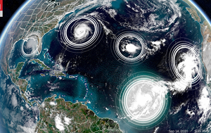Five tropical cyclones are in the Atlantic at the same time for only the second time in history