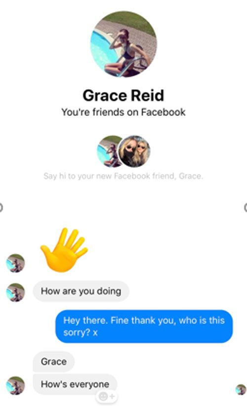 The message received by one of Grace Reid's school friend's from the fake profile.