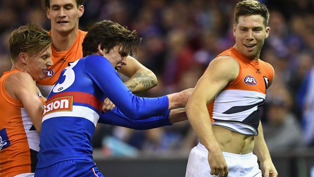 GWS Giants star Toby Greene was reported during his side's win over the Western Bulldogs. (AAP)