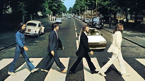 The car edited into the iconic photograph of the Beatles. (Gumtree)